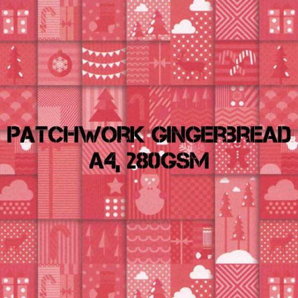 Payper Box A4 Printed Card Patchwork Gingerbread - 10 Sheets